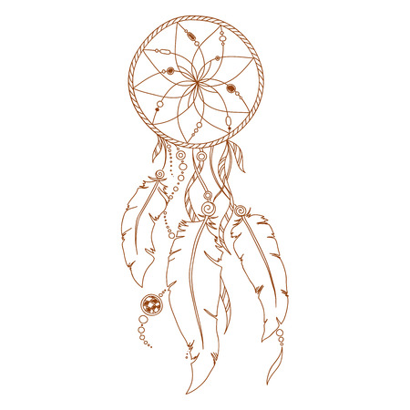 dreamcatcher: Dreamcatcher, feathers and beads. Native american indian dream catcher, traditional symbol