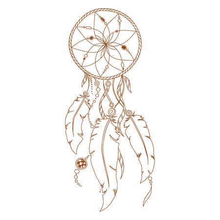 Dreamcatcher, plumas y cuentas. Nativo americano atrapasueños indio, símbolo tradicional