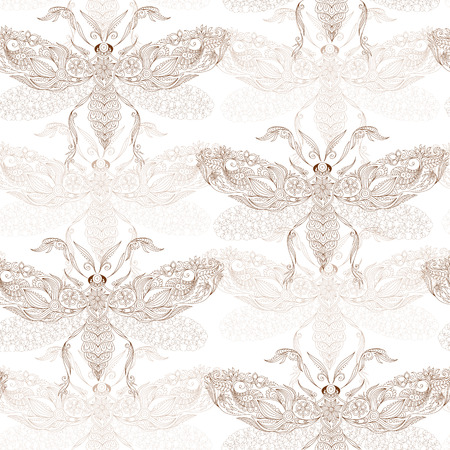 Night creatures seamless pattern with moths. Hand drawn insects. Stock Photo