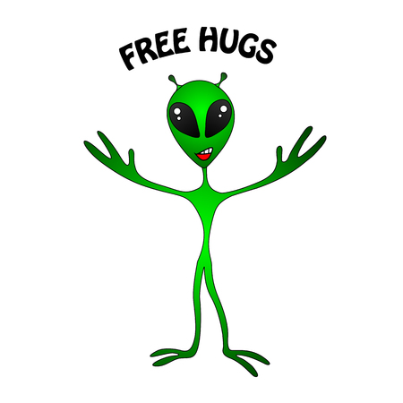 alien symbol: funny green alien. Free Hugs Stock Photo