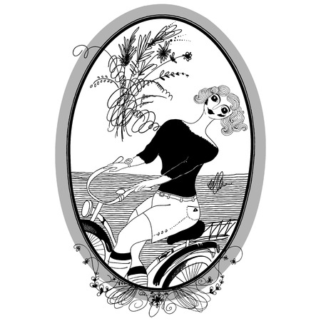 happy woman: Vintage girl rides a bicycle. Set of illustrations.