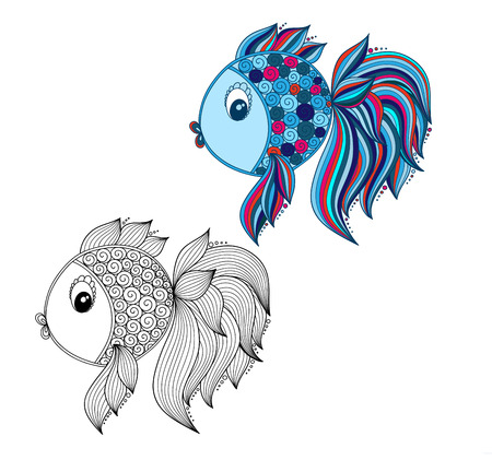 Color coloring book for young children - colorful doodle fish 版權商用圖片