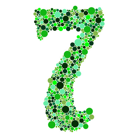 8 12: green alphabet symbols of colorful bubbles or balls. Numbers 12= 2 3 4 5 6 7 8 9 0
