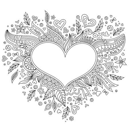 Malvorlage Blume Herz Valentinstag Grußkarte Handgemachte Druck ...
