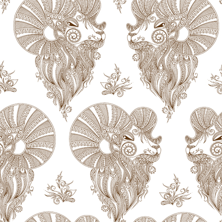 rams: Rams head. Seamless pattern. Mehendi doodle style