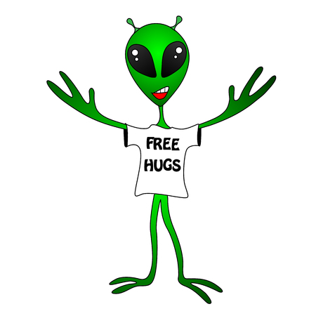 hugs: funny green alien. Free Hugs Stock Photo