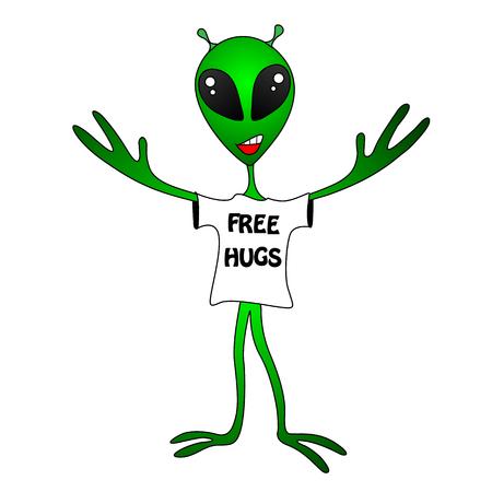 funny green alien. Free Hugs 免版税图像
