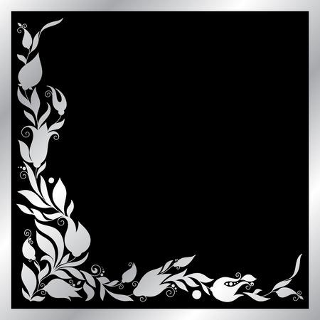 silver frame: Greeting silver frame elements for design.