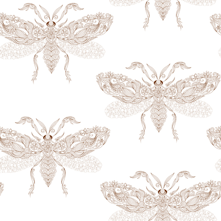 creatures: Night creatures seamless pattern with moths
