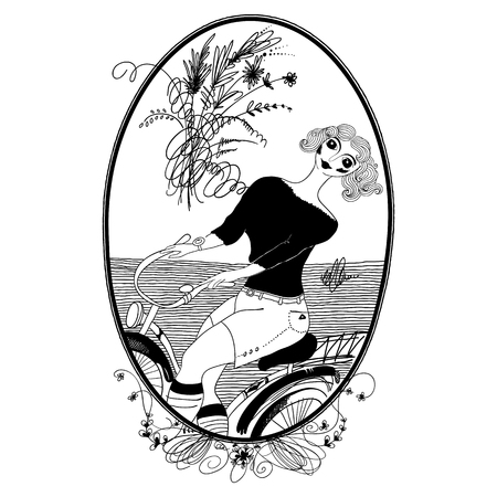 outdoor glamour: Vintage girl rides a bicycle. Set of illustrations.