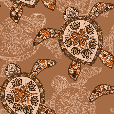 nature silhouette: Seamless pattern with turtles.
