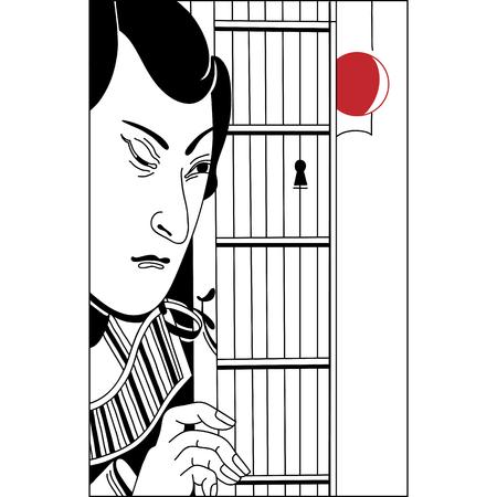 snoop: Japanese peeping through the keyhole. Vintage hand draw art. Set of illustrations
