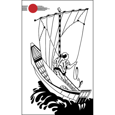 sumi e: Japanese fisherman in a sailing ship. Vintage hand draw art. Set of illustrations