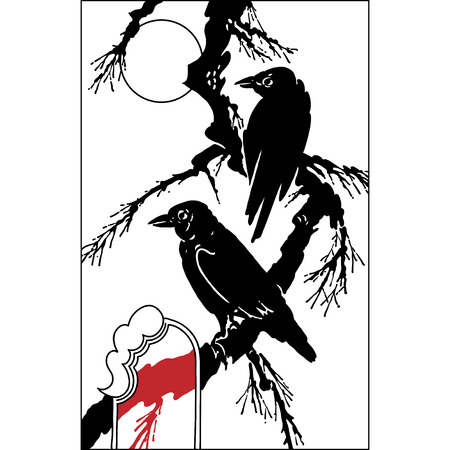 corvus: Ravens bird on tree branch - black silhouette on white. Vintage hand draw art. Stock Photo