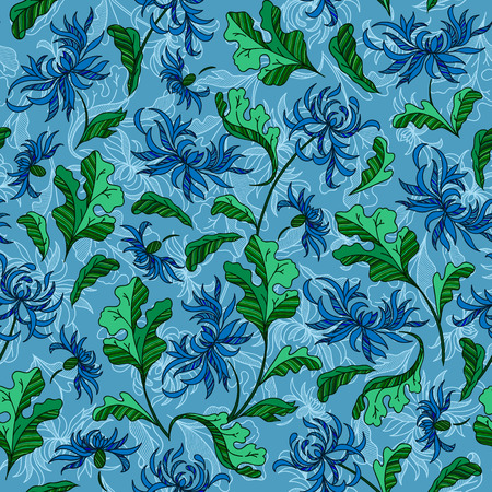 soulful: Seamless raster vintage japanese pattern with lily