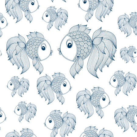 world in hand: Raster seamless pattern with sea fish world. Hand drawn doodle fish