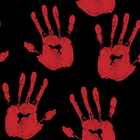 hand print: Red  Hand Print Stock Photo