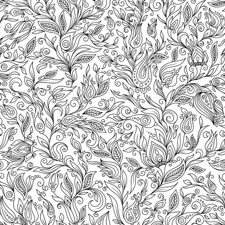 garden flowers: Seamless Pattern for coloring book. Ethnic, floral, retro, doodle, tribal design element.
