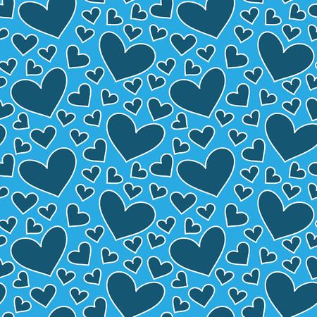 corazones azules: Blue hearts seamless pattern. Valentines day. Hand drawn background.