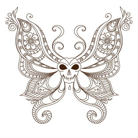 nocturne: Skull and wings of the butterfly tattoo illustration Stock Photo