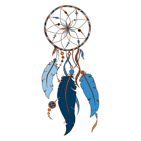 bird feathers: Dreamcatcher, feathers and beads. Native american indian dream catcher, traditional symbol