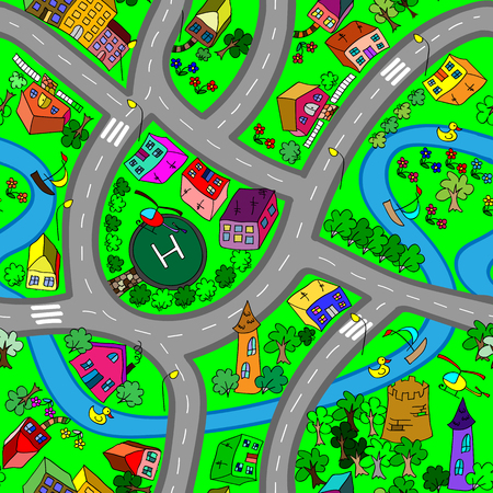 bush babies: Cartoon map seamless pattern. (roads, cars and houses)