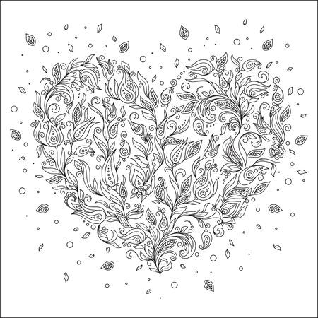 Malvorlage Blume Herz Valentinstag Grußkarte Handgemachte Druck