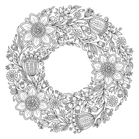 dibujos para colorear: corona de flores. Página para colorear libro para adultos. Foto de archivo