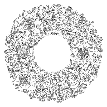 autumn colouring: Flowers wreath. Coloring book page for adult.