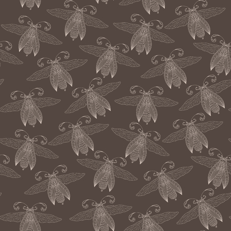 Night creatures seamless pattern with moths