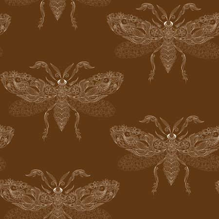 cicada: Night creatures seamless pattern with moths. Hand drawn insects. Stock Photo