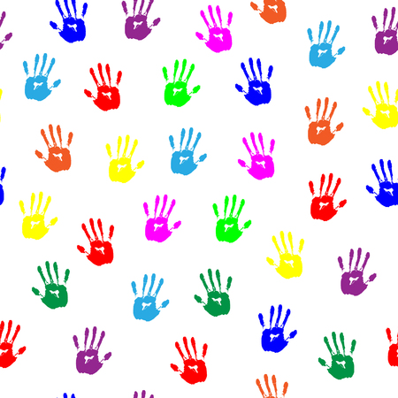 hand print: Colored Hand Print. Seamless pattern
