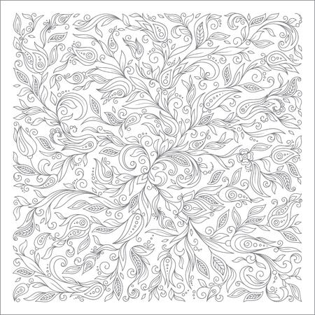 Pattern for coloring book. Ethnic, floral, retro, doodle,  tribal design element. Black and white background.  Henna paisley mehndi doodles design tribal design element