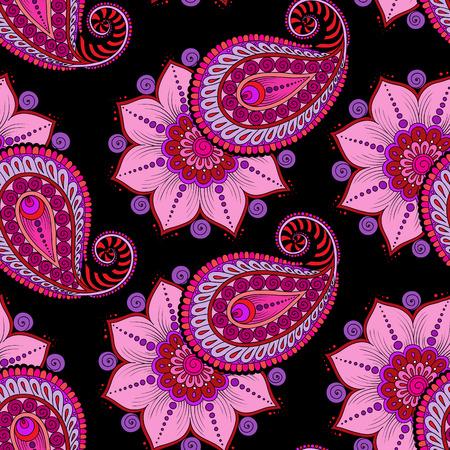raster illustration: Raster  illustration of  pink  seamless paisley pattern