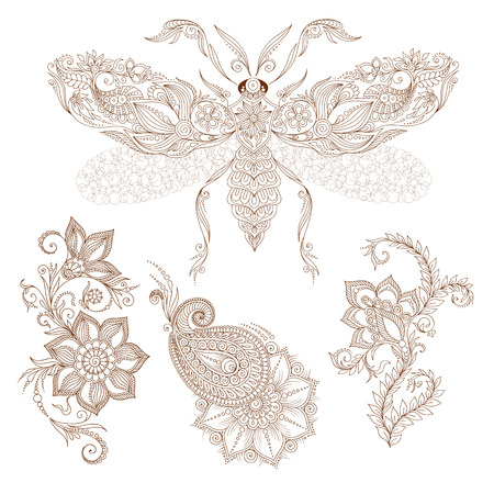 batterfly: Pattern for colorig book, elements in indian mehendy style. Abstract henna    illustration. Design element.