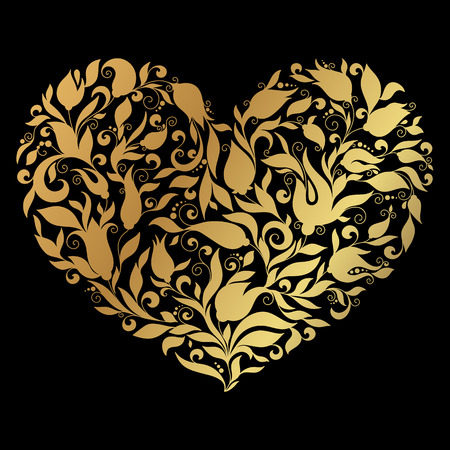 corazones: Floral vintage heart on gold background Stock Photo