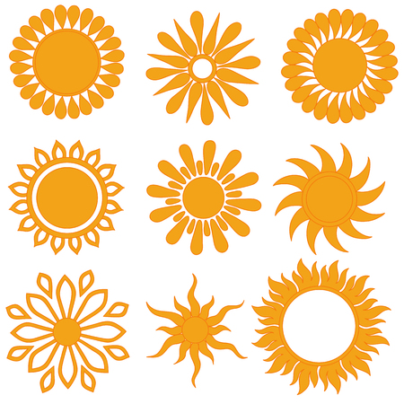 suns: Set of raster icons. Hand drawn doodle suns.