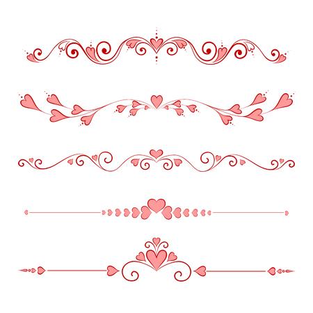 calligraphic design: Set Calligraphic Valentines Day Design Elements