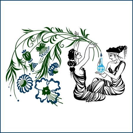 ancient greece: Ancient Greece ladies, natural medicine. Hand drawn illustration