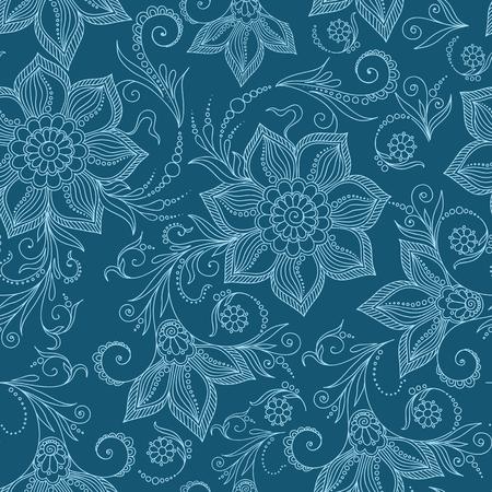 seamlessly: Henna Mehndi Tattoo Doodles Seamless Pattern- Paisley Flowers Illustration Design Elements Stock Photo