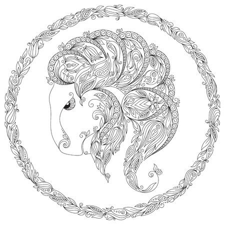 capricornus: Pattern for coloring book. Hand drawn line flowers art of zodiac Capricornus. Horoscope symbol for your use. For tattoo art, coloring books set. Henna Mehndi Tattoo Ethnic Zentangle Doodles style. Stock Photo