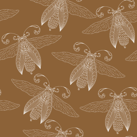 cicada: Night creatures seamless pattern with moths . Hand drawn insects. Stock Photo