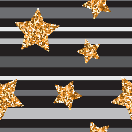 gold textured background: Seamless pattern with gold glitter textured stars on gray background Stock Photo