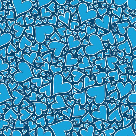 corazones azules: Corazones azules sin patrón. modelo de los corazones del Doodle. Dibujado a mano ornamento.