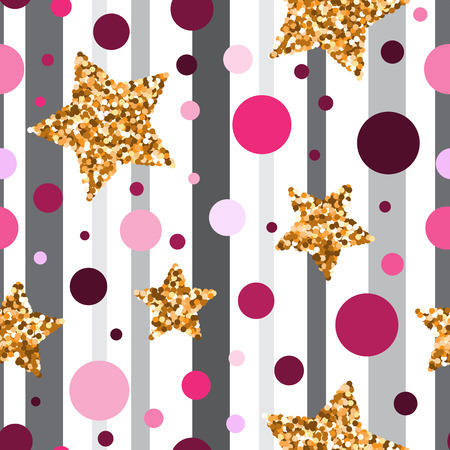 gold textured background: Seamless pattern with gold glitter textured stars and pink circles on grey background . Stock Photo