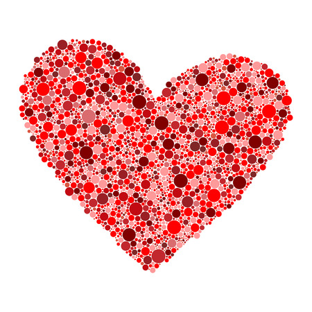 lila: red dots heart Stock Photo