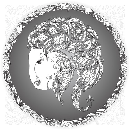 capricornus: Zodiac sign Capricornus. This illustration can be used as a greeting card or as a print on T-shirts and bags, tattoo art, coloring books. Decorative Henna Mehndi Tattoo Ethnic Zentangle Doodles style.