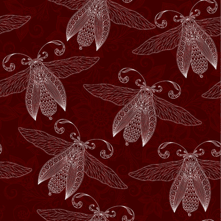Night creatures seamless pattern with moths . Hand drawn insects. Stock Photo