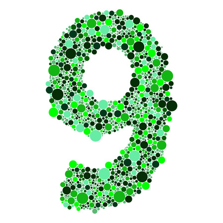 0 to 5: green alphabet symbols of colorful bubbles or balls. Numbers 12= 2 3 4 5 6 7 8 9 0