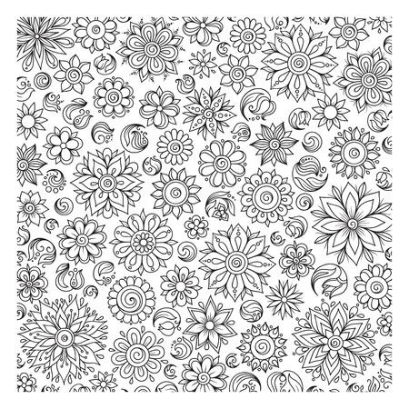 Patrón De Libro Para Colorear. Étnica, Floral, Retro, Elemento De ...